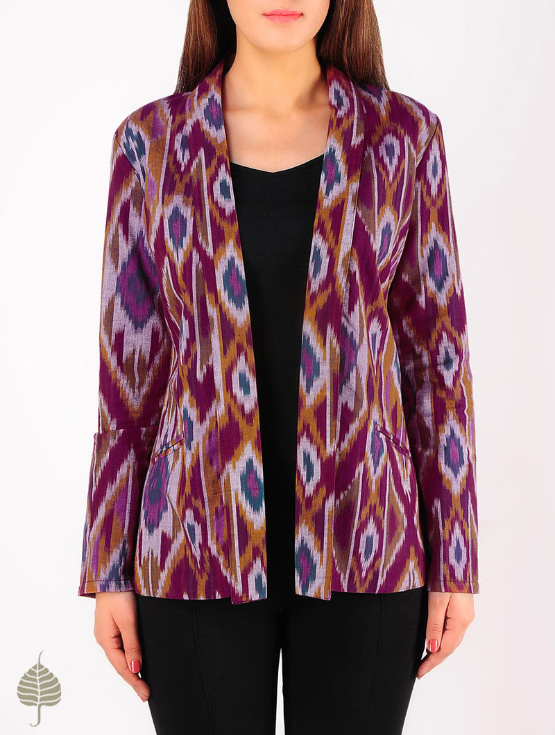 Burgundy - Multi-Color Hand woven Ikat Cotton Jacket by Jaypore
