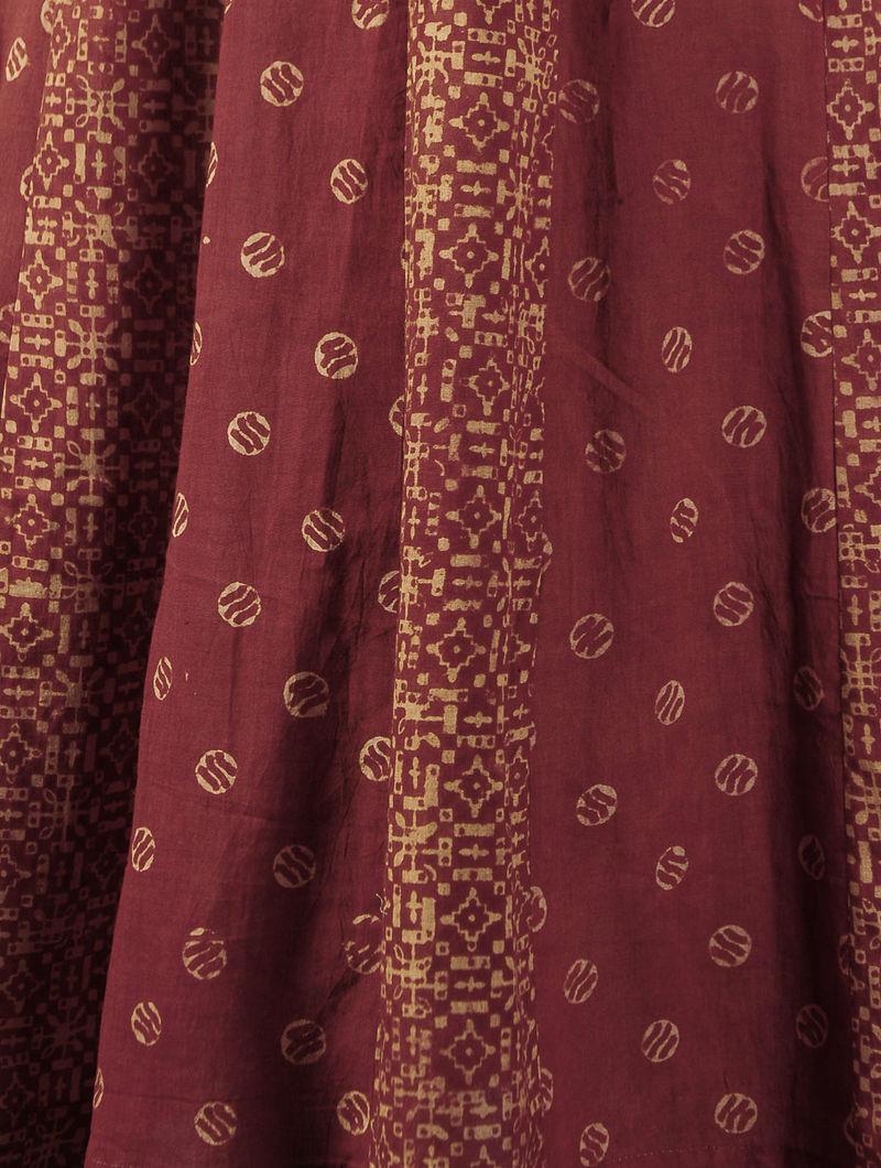 Red - Ecru Ajrakh Kalidar Cotton Kurta By  Jaypore