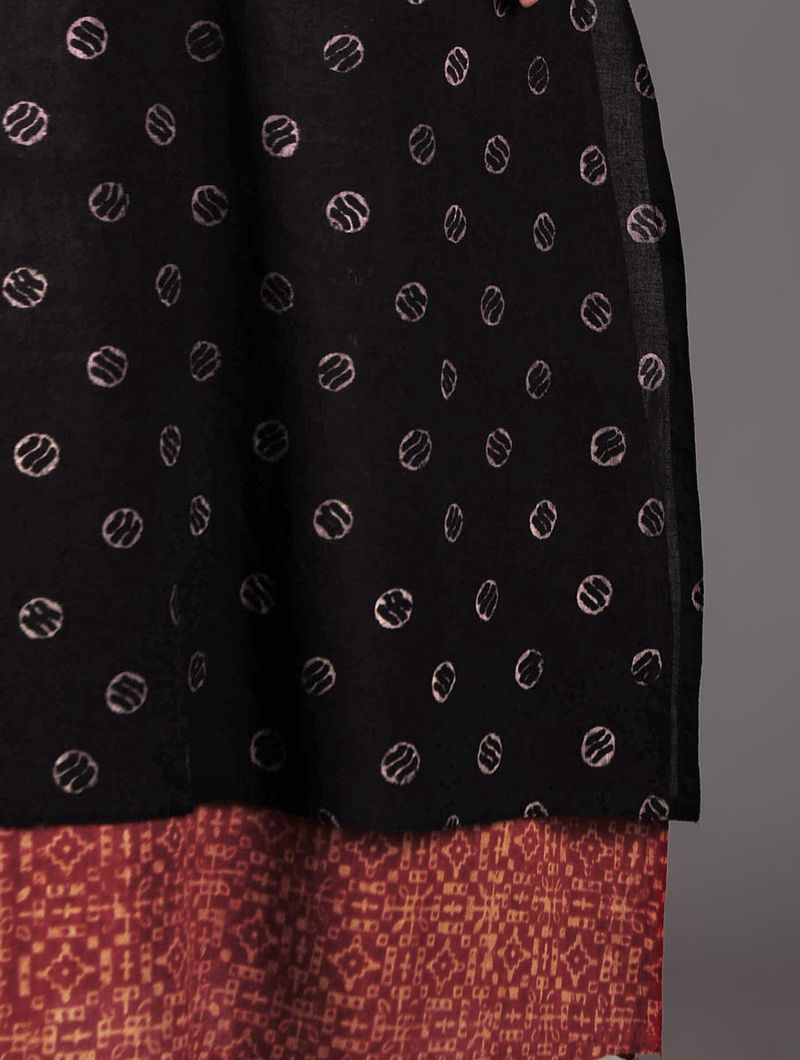 Black - Red Ajrakh Cotton Layered Kurta  By Jaypore