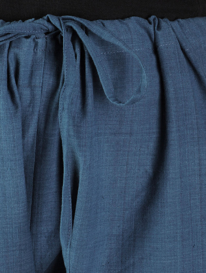 Indigo Tie - Up Waist Cotton Pants By Jaypore