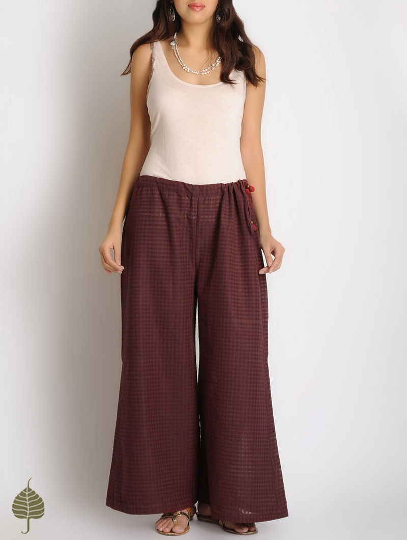 Burgundy Checks Tie-Up Waist Cotton Palazzos by Jaypore