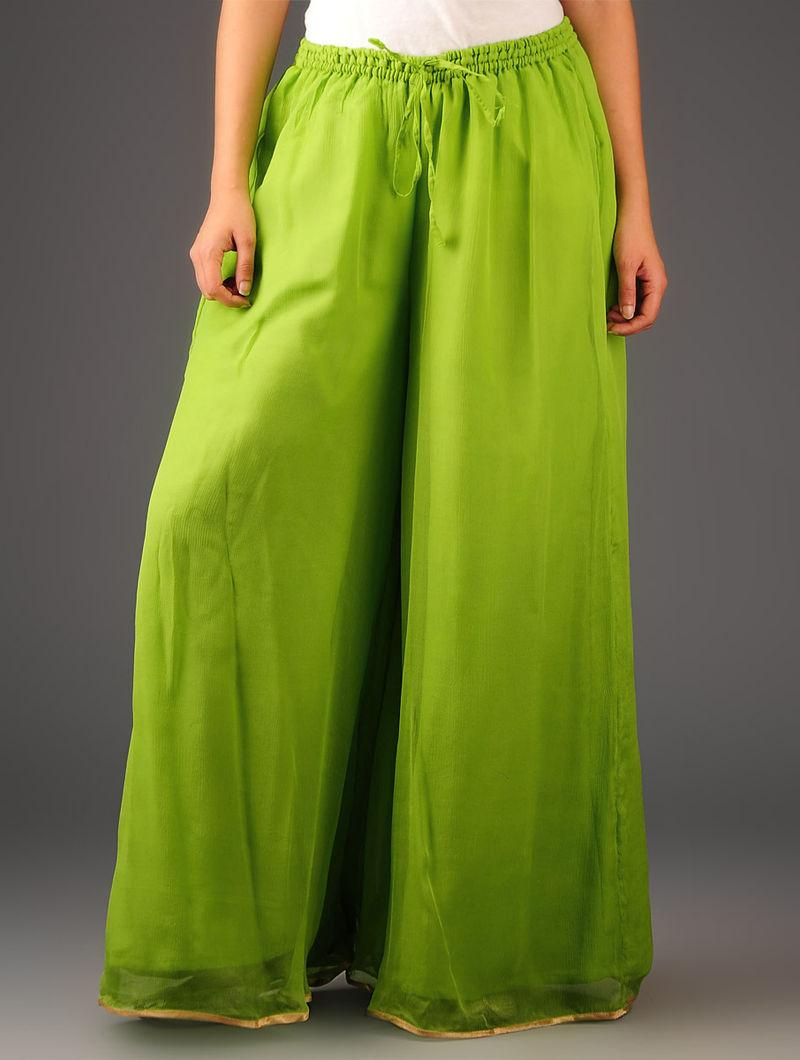 Neon Green-Golden Chiffon-Tissue Elasticated Waist Palazzos-Free Size