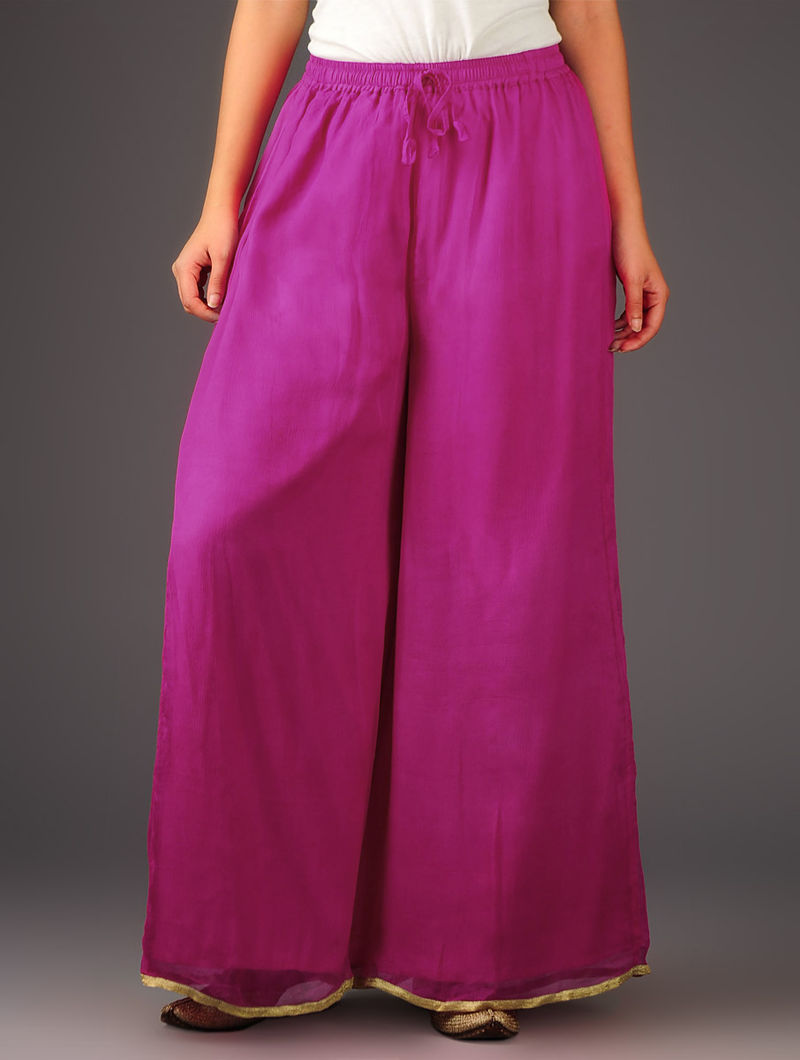 Fuschia-Golden Chiffon-Tissue Elasticated Waist Palazzos-Free Size