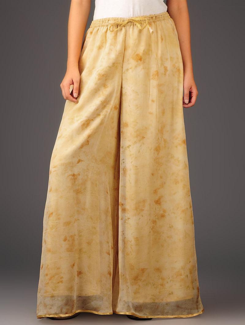 Beige-Golden Chiffon-Tissue Elasticated Waist Palazzos-Free Size