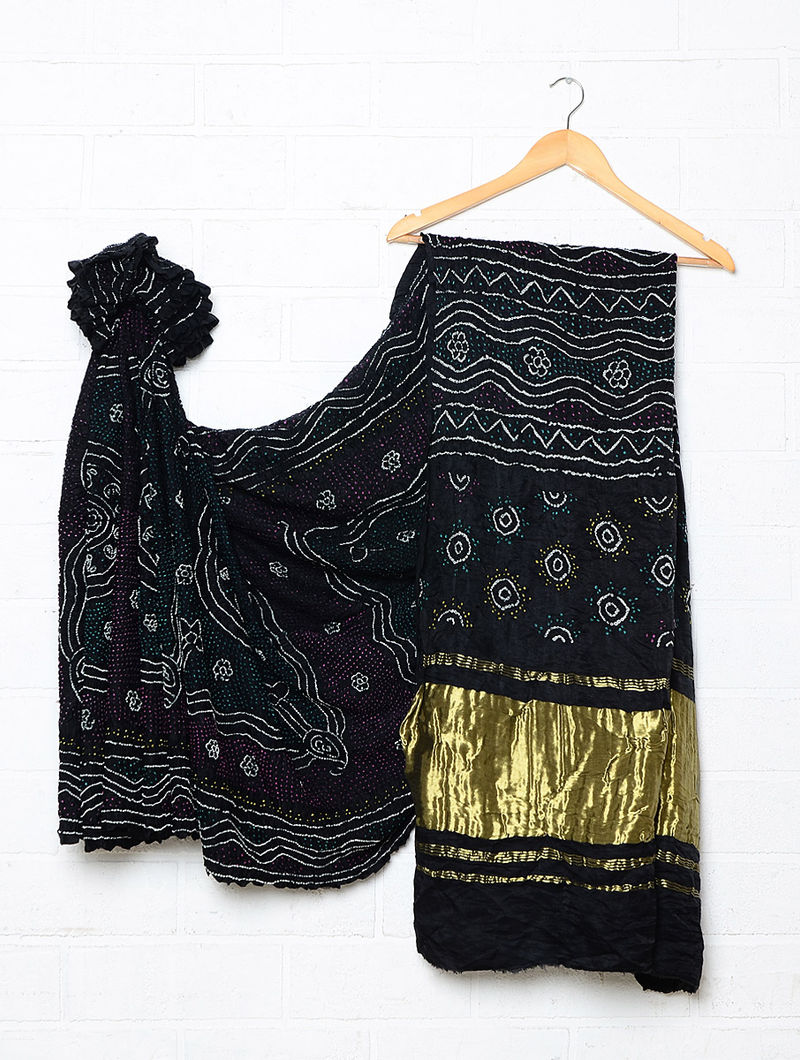 7cfb686714 Black Gajji Silk Bandhani Saree