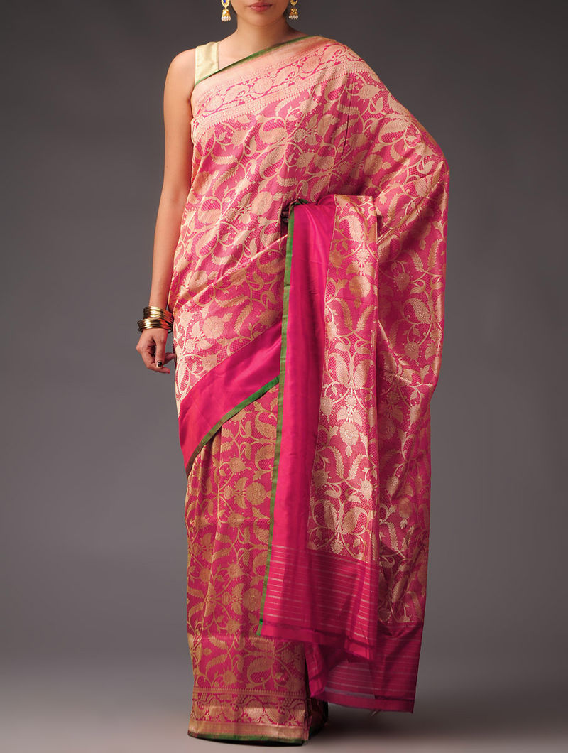 Fuschia-Green Silk Tissue All Over Banarasi Design Saree