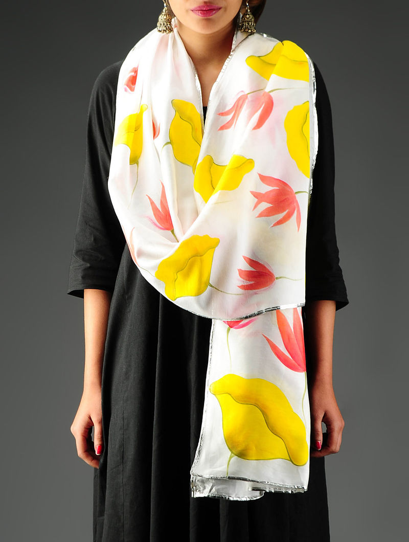 Yellow-Red Hand Painted Chanderi Stole in Lotus & Leaf Motif with Gota Border