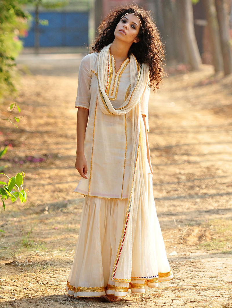 dc2b442ebe Cream-Golden Gota Embellished Cotton Kurta-Elasticated Waist Sharara &  Crinkled Dupatta Set of