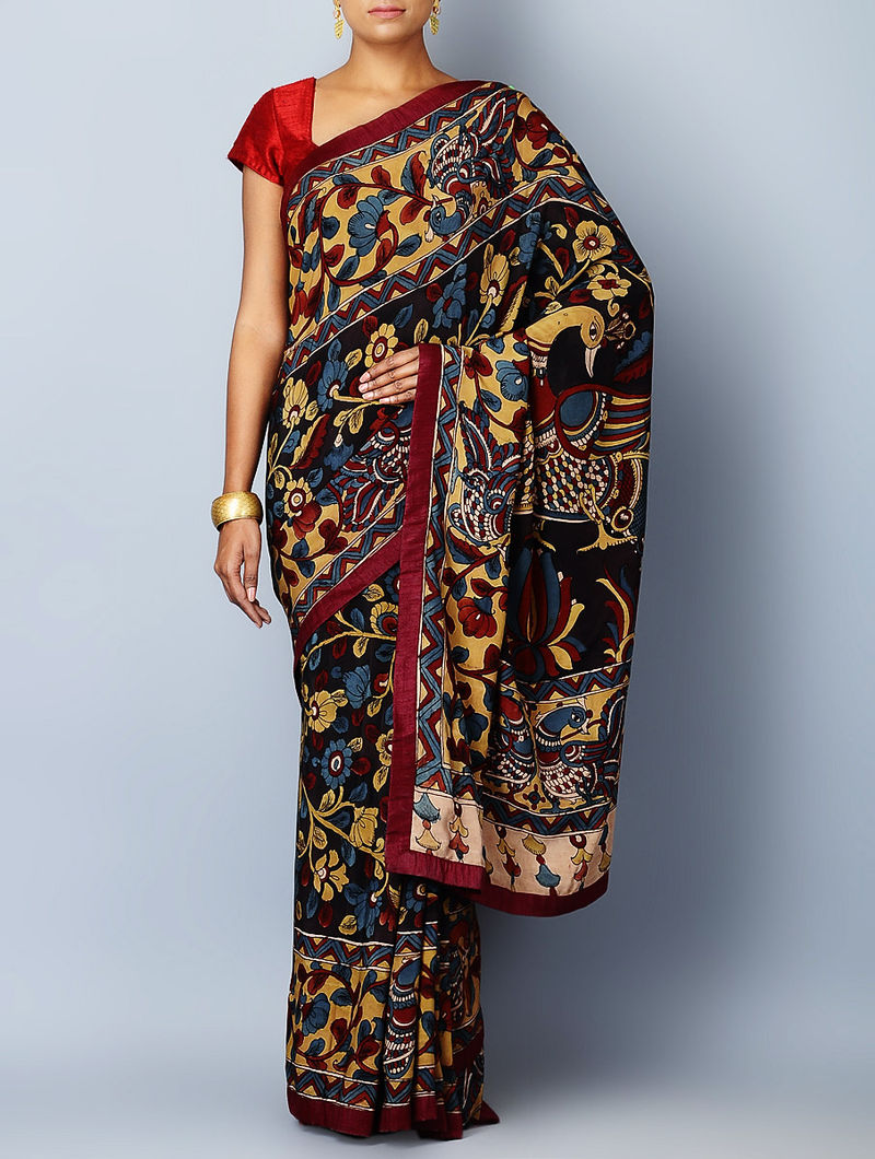 Multi-Color Crepe Zari Border Hand Painted Kalamkari Saree