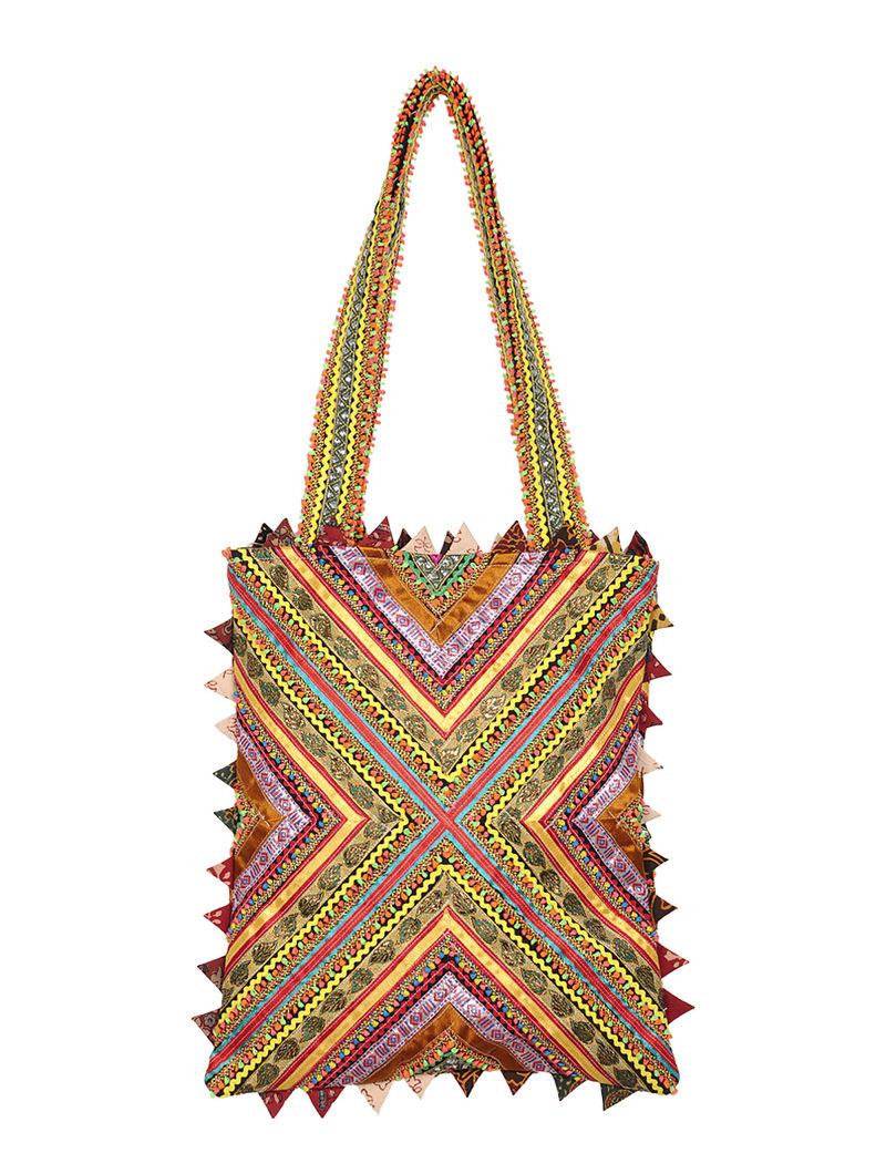 Mulitcolor Embellished Cotton Tote Bag