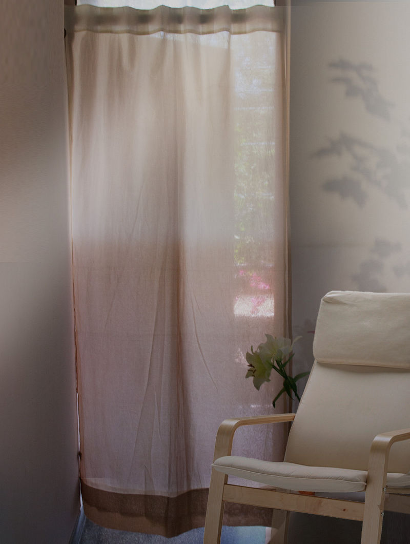 Ecru Ombre Dyed Organdy Curtain