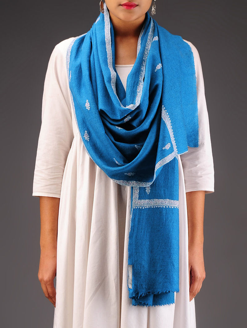Blue-White Pashmina Hand Embroidered Stole