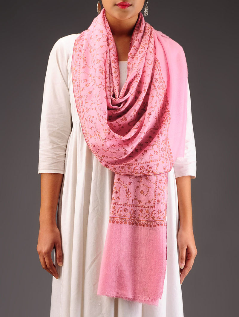Pink-Red Pashmina Hand Embroidered Stole