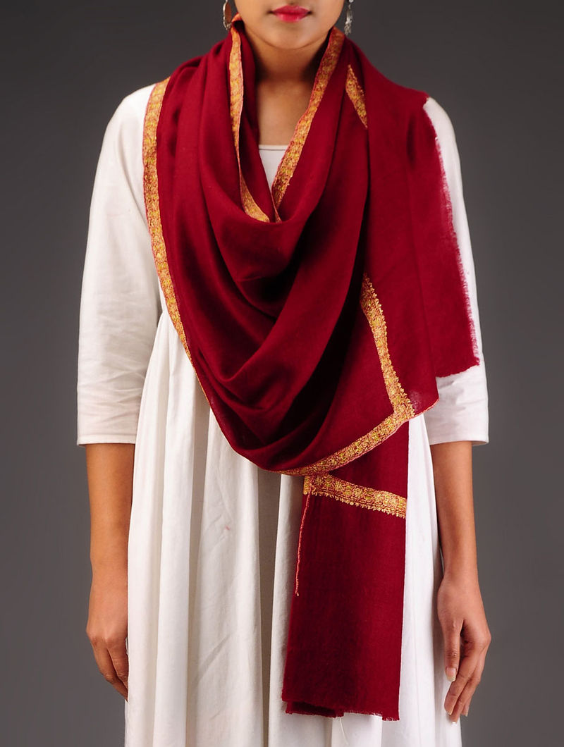Maroon-Peach Pashmina Hand Embroidered Stole
