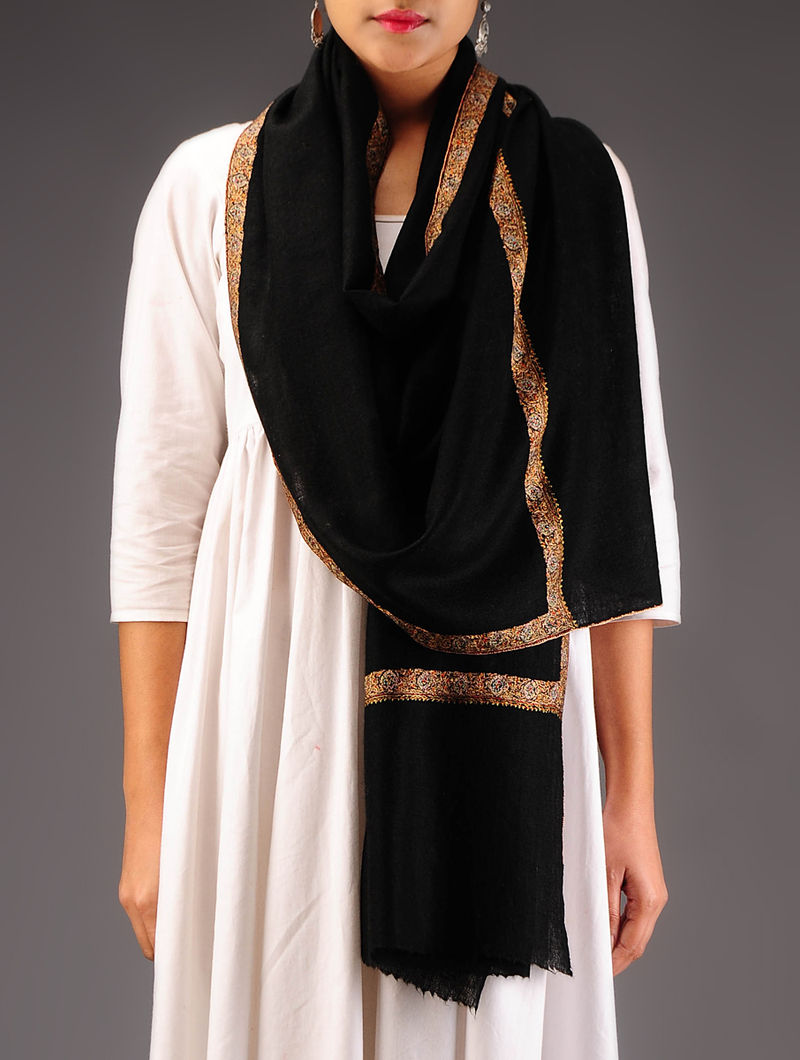 Black-Peach Pashmina Hand Embroidered Stole