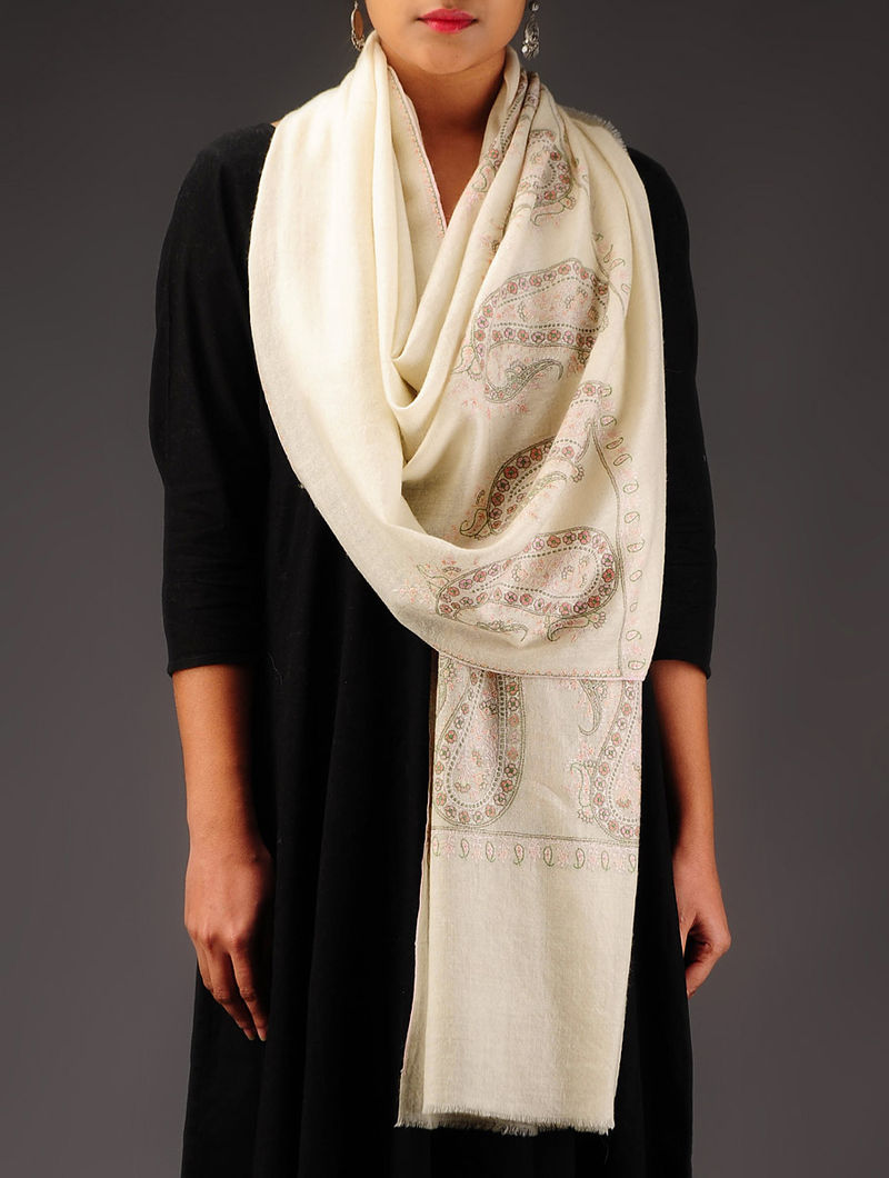 Ivory-Pink-Green Pashmina Hand Embroidered Stole