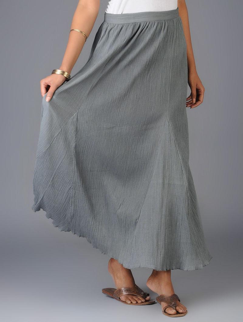 Grey Tie-Up Waist Crinkled Georgette Skirt