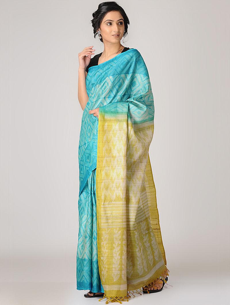 ca6c6ba6404b58 Blue-Yellow Shibori Tussar Silk Saree