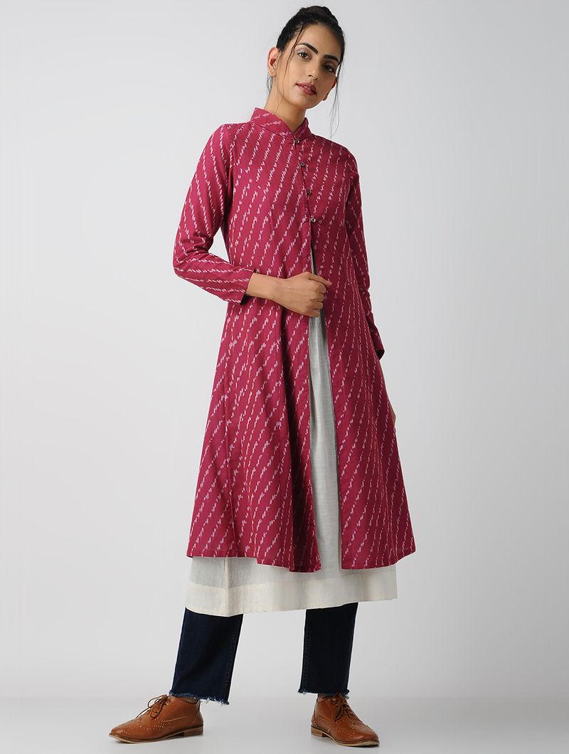 ec2b04f9962889 Pink-Ivory Front-open Cotton Ikat Kurta by Jaypore