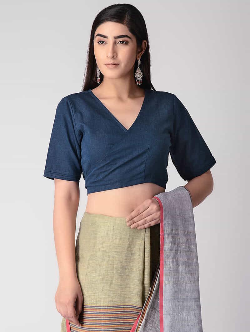aa92e96905b032 Blue Handloom Cotton Tie-up Wrap Blouse Apparel