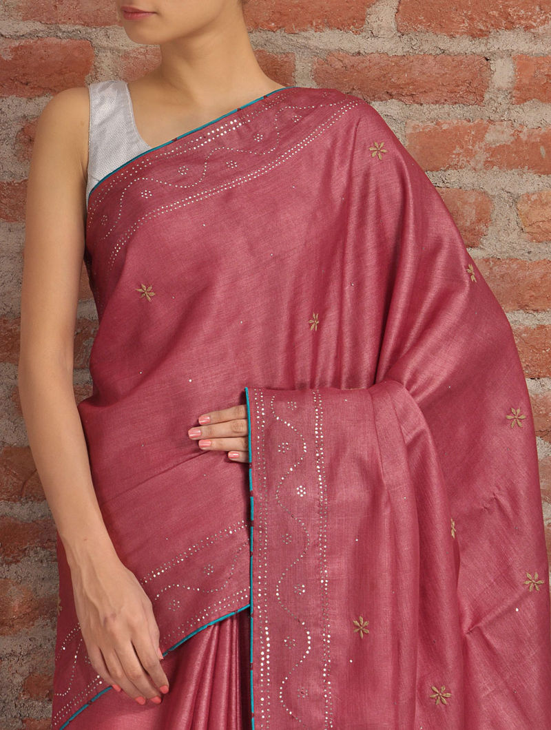 Deep Red Badla Tussar Silk Saree