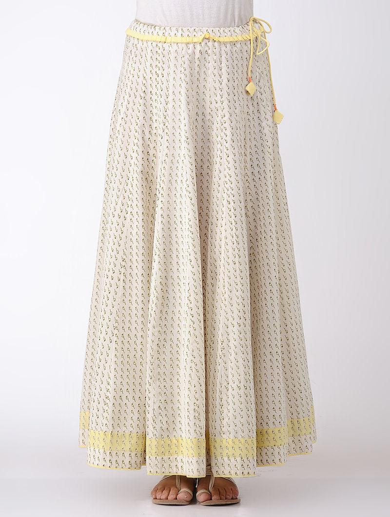 ec4bb02eaf6709 Beige Tie-up Printed Cotton Kali Skirt