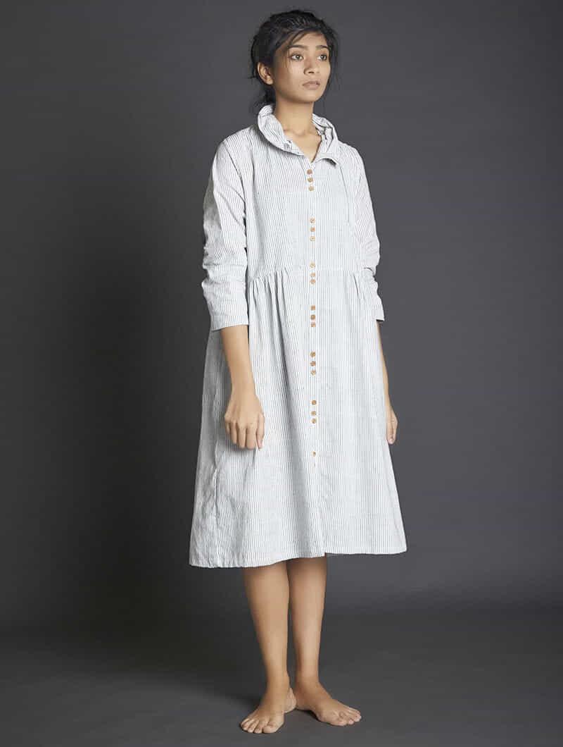0a24a50d4ac3a White-Grey Button-down Handspun Khadi Dress