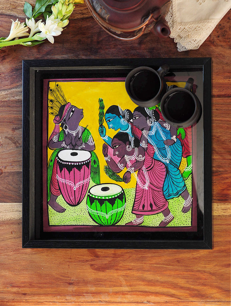 Ladies with Tabla Design Pattachitra Painting Wooden Tray 13.2in x 13.2in