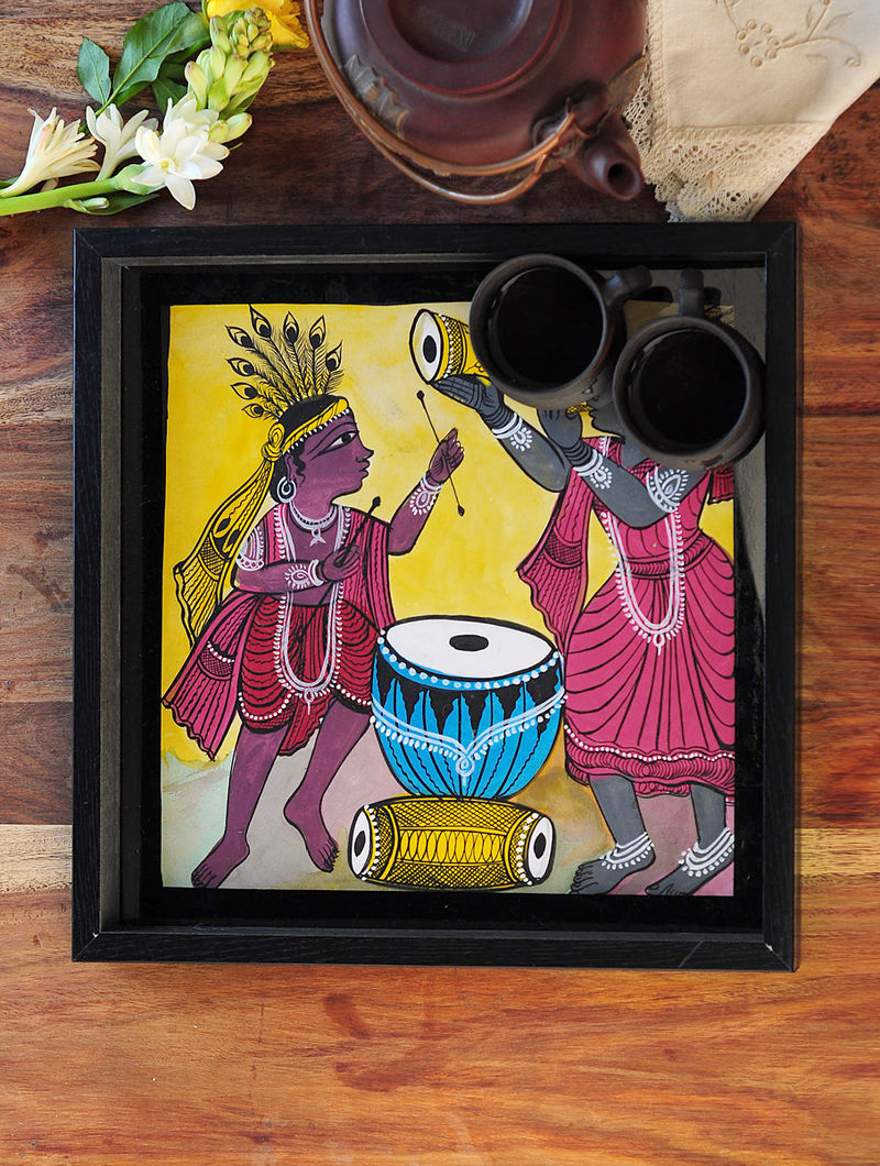 Man and Women Design Pattachitra Painting Wooden Tray 13.2in x 13.2in