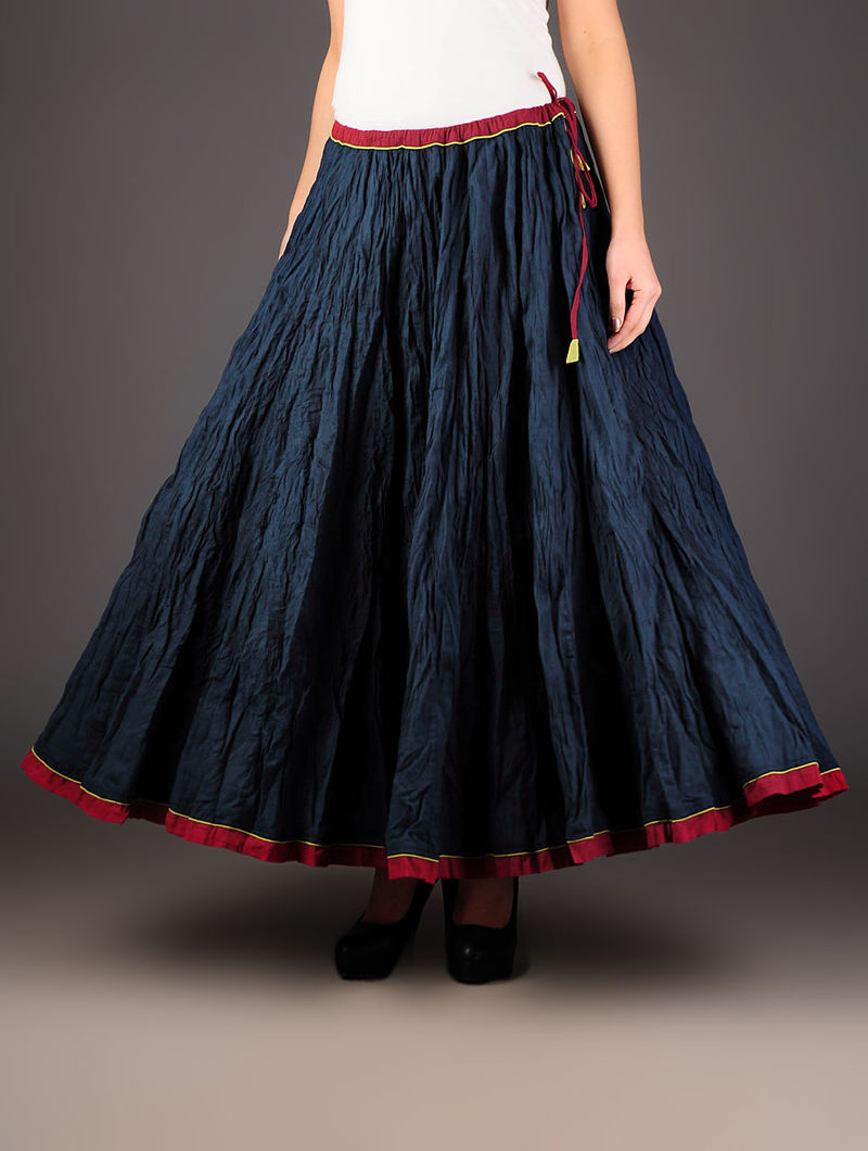 Indigo  Crinkle Tie-Up Waist Cotton Skirt