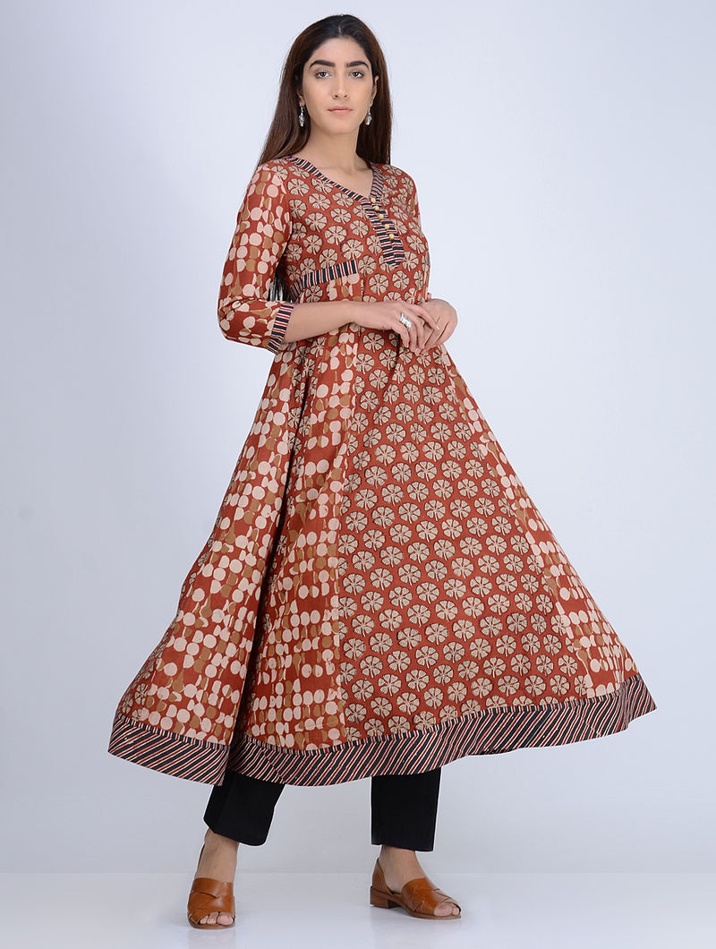71426e456f4a8 Rust Natural Dyed Block Printed Cotton Angrakha Kurta With Ajrakh Printed  Trims