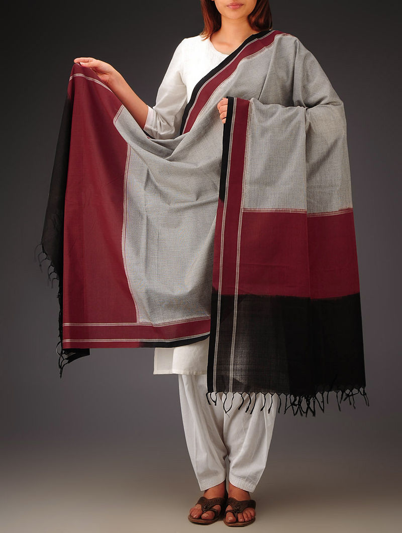 Black-Maroon Telia Design Double Ikat Cotton Dupatta