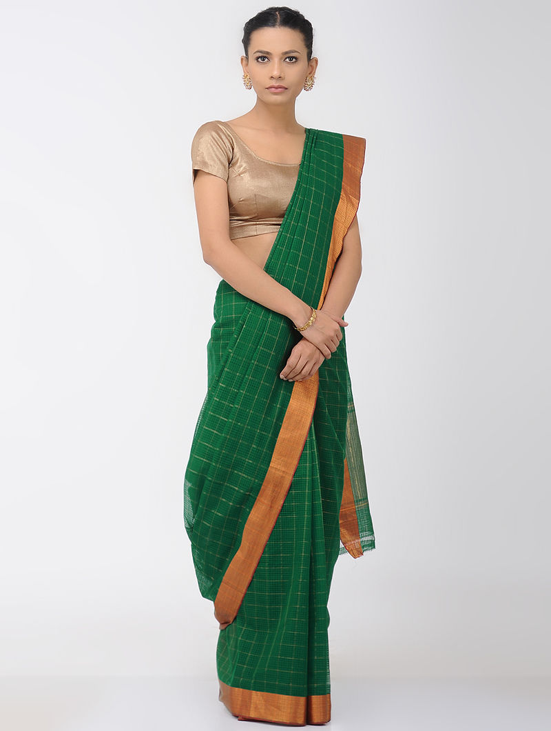 2e07c94e93 Green Missing Checks Mangalgiri Cotton Saree with Zari Border Woven Sarees