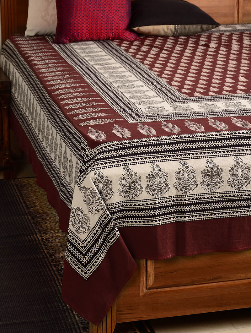 Floral Cotton Double Bed Cover 107in x 90in