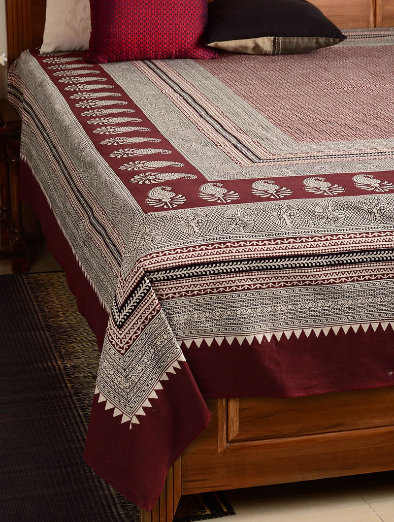 Paisley Cotton Double Bed Cover 106in x 89in