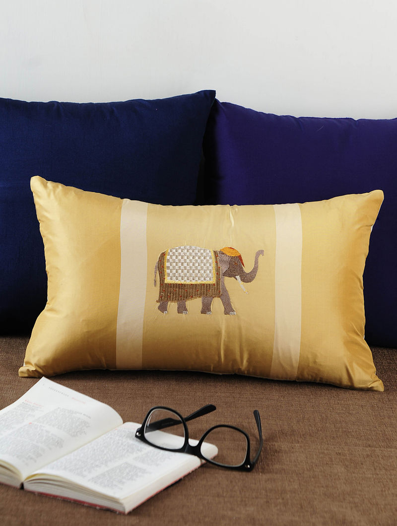 Silk Light Brown Elephant Embroidered Cushion Cover 19.5in X 12in