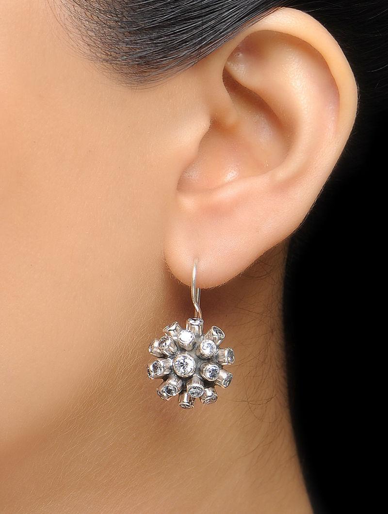 Floral Crystal Silver Earrings