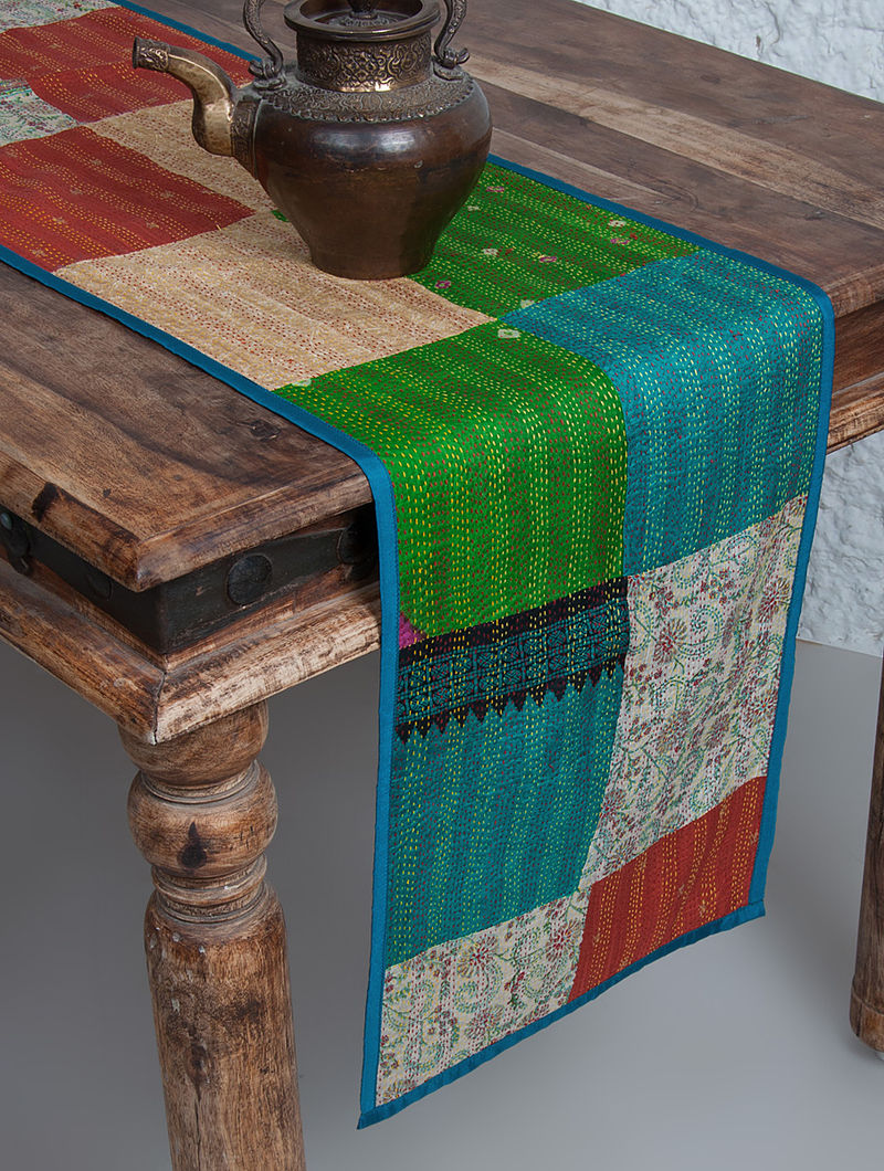 Multi-Color Silk Kantha Embroidered Table Runner by Nur 80in x 13in