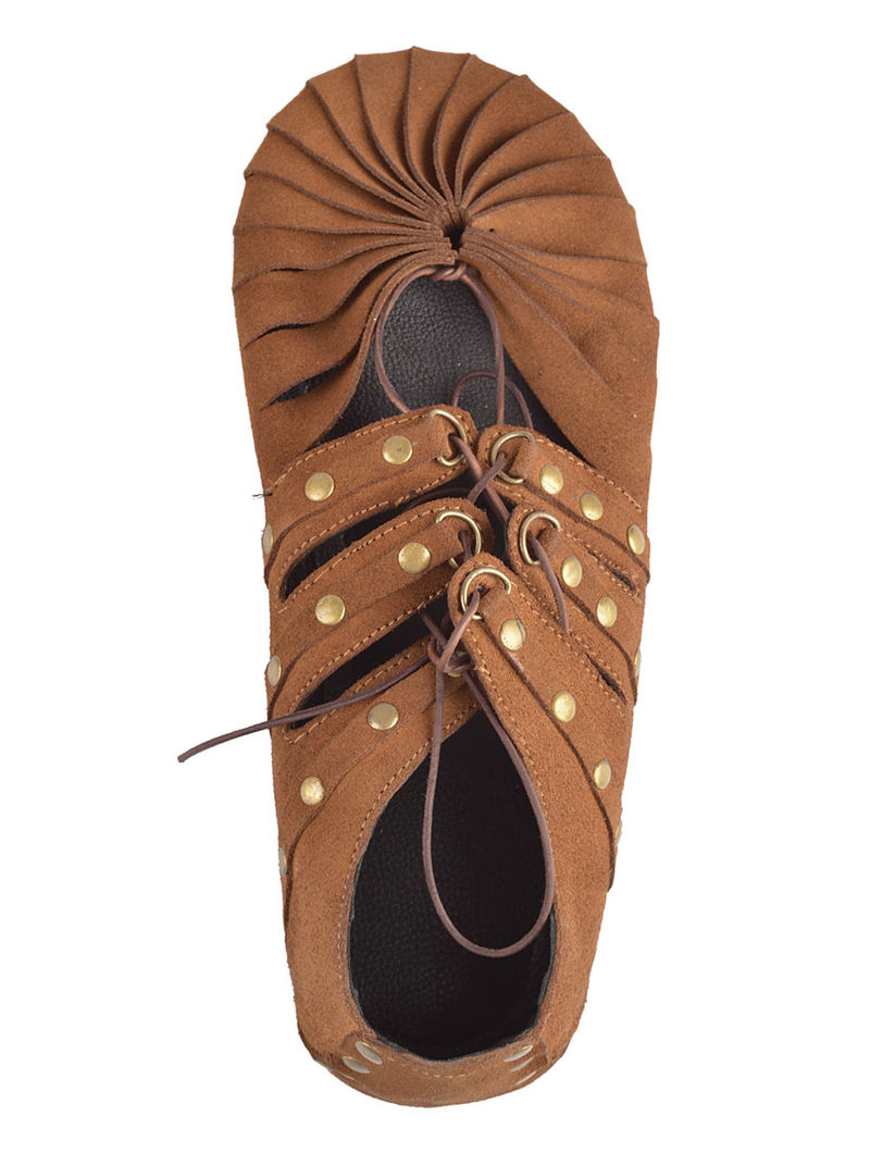 Light Brown Italian Split-Leather Shoes with Rivets