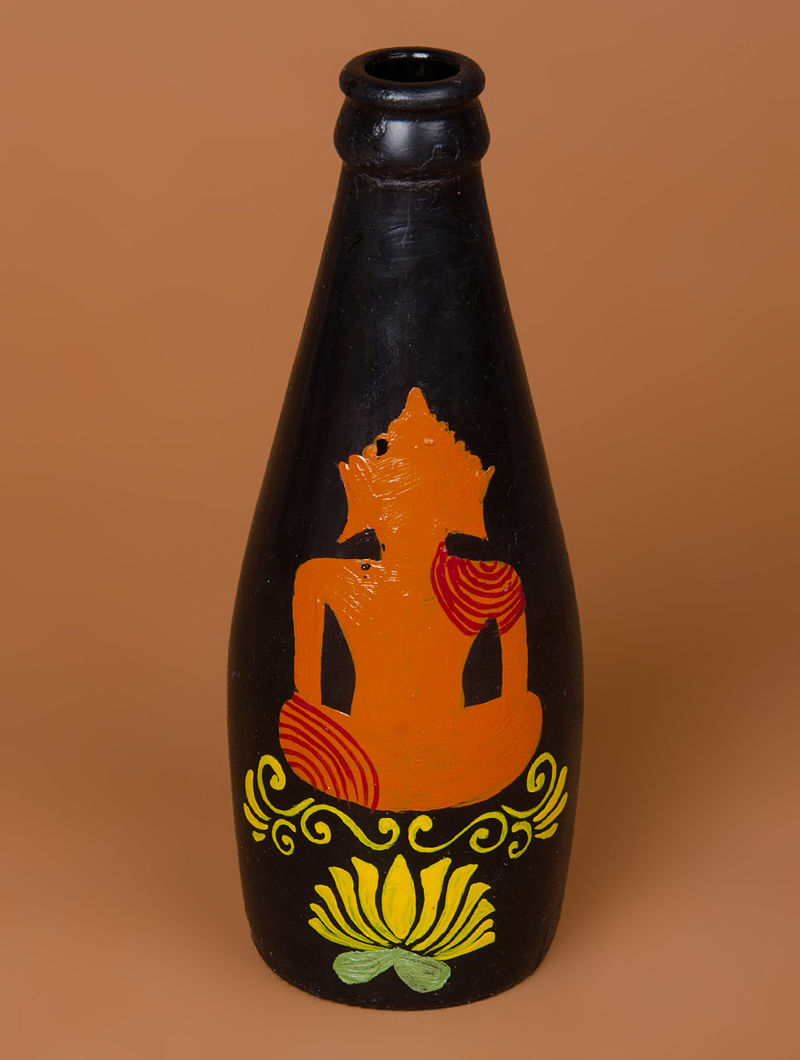 Hand Painted Glass Buddha Bottle 2 5in X 2 5in X 7 1in