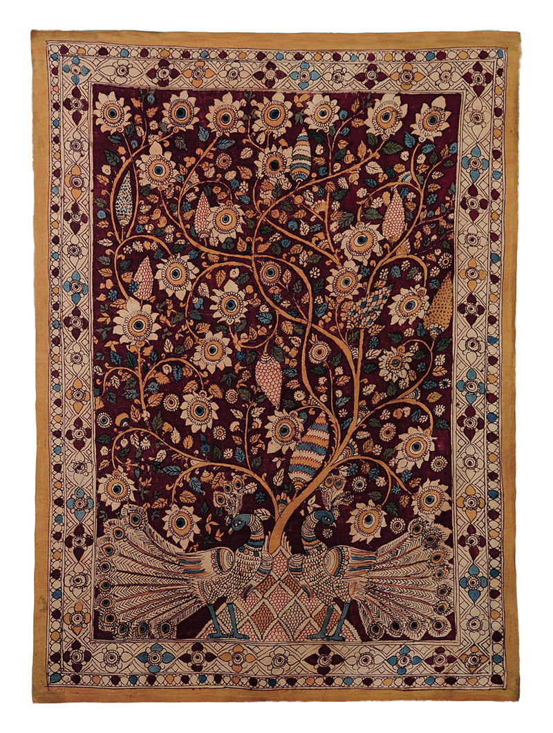 Maroon-Multicolor Cotton Hand Painted Kalamkari Wall Hanging 46in x 33.5in