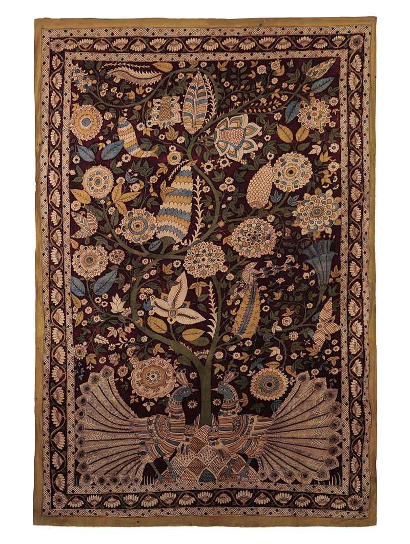 Maroon-Multicolor Cotton Hand Painted Kalamkari Wall Hanging 66in x 46in