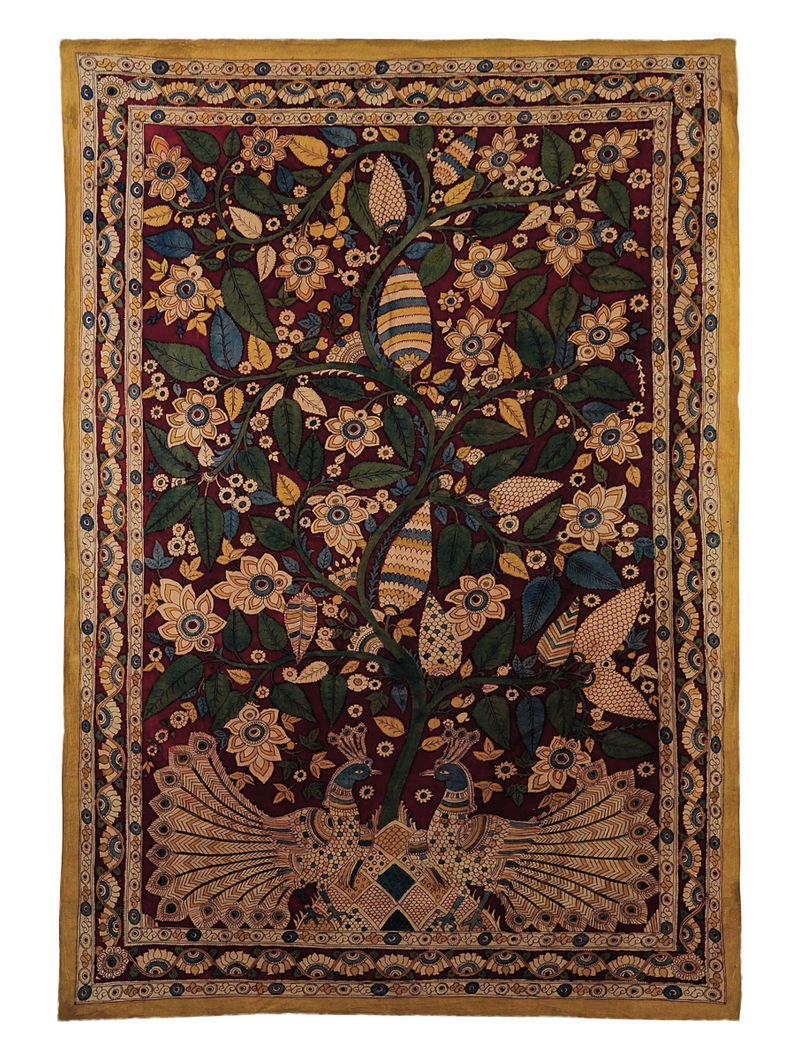 Maroon-Multicolor Cotton Hand Painted Kalamkari Wall Hanging 64in x 45.5in