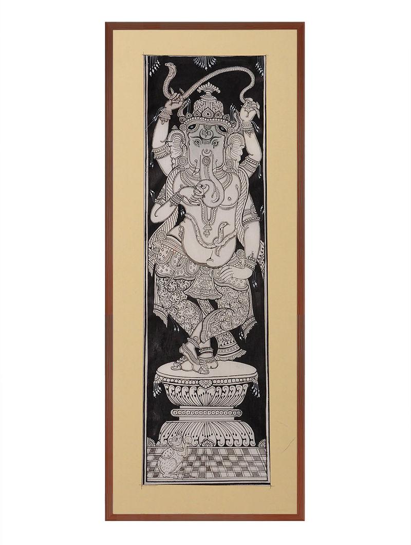 Ganesha Pattachitra on Patta 18.5in x 8.5in