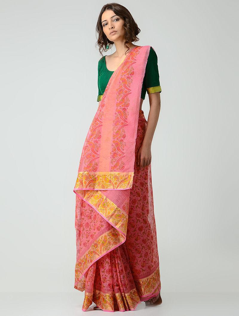 8f188cb903b928 Pink-Orange Block-printed Kota Doria Saree with Zari Border
