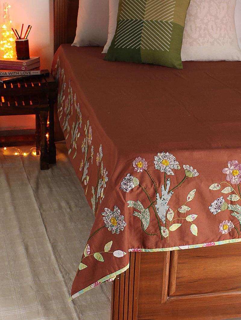 Rust-Multicolor Daisy Dream Single Bed Cover 105in x  70in