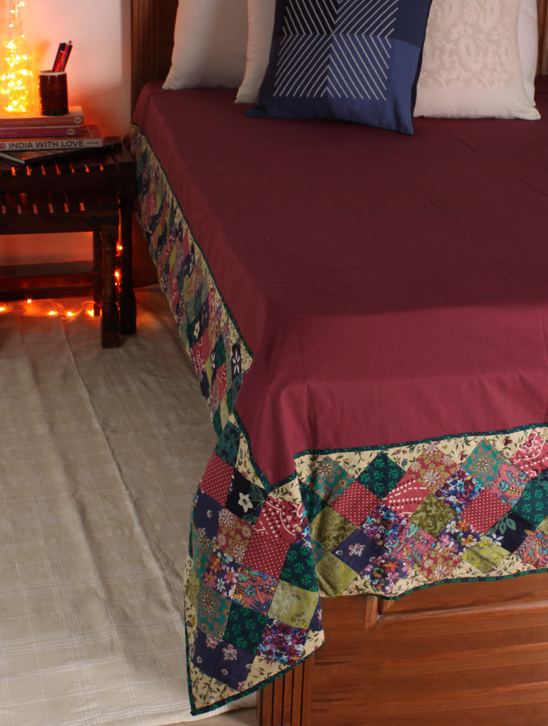 Maroon-Multicolor Patchwork Single Bed Cover 106in x  72in