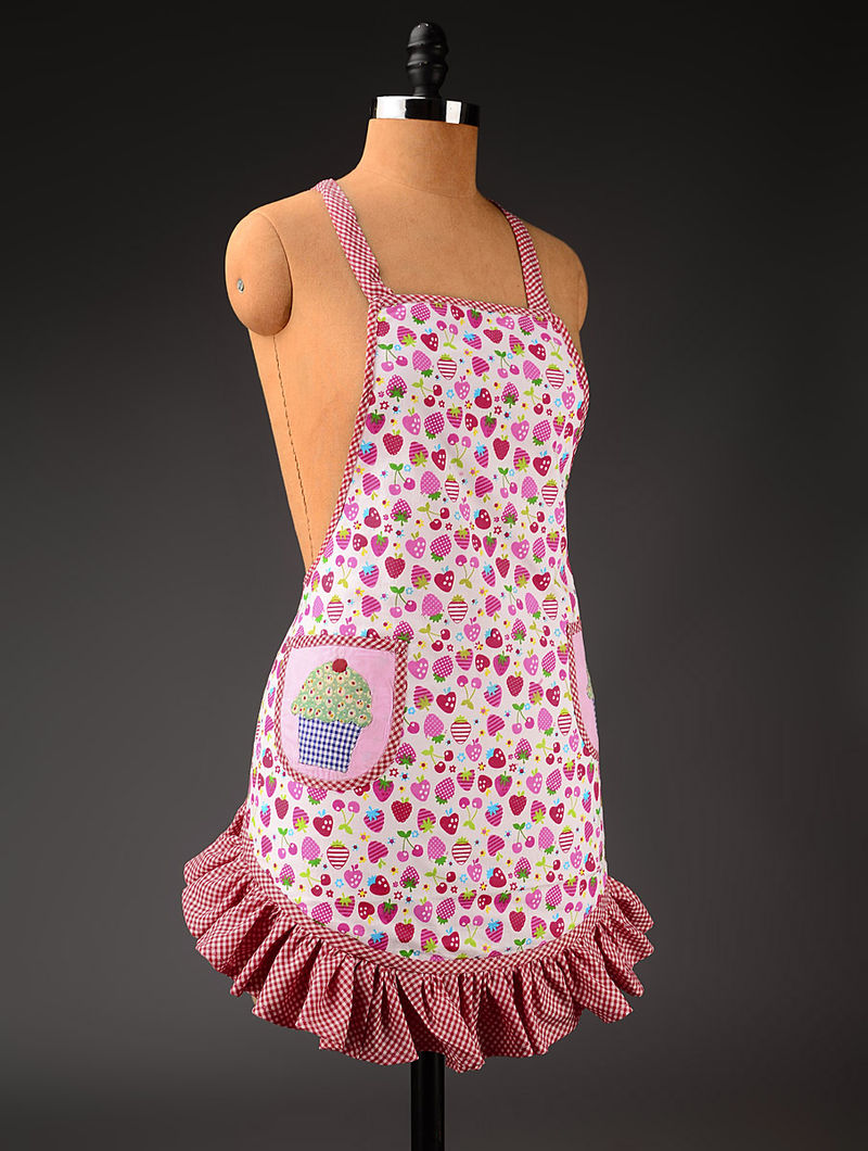 Red-Pink-White Ice-Cream Frill Apron 26in x  36in