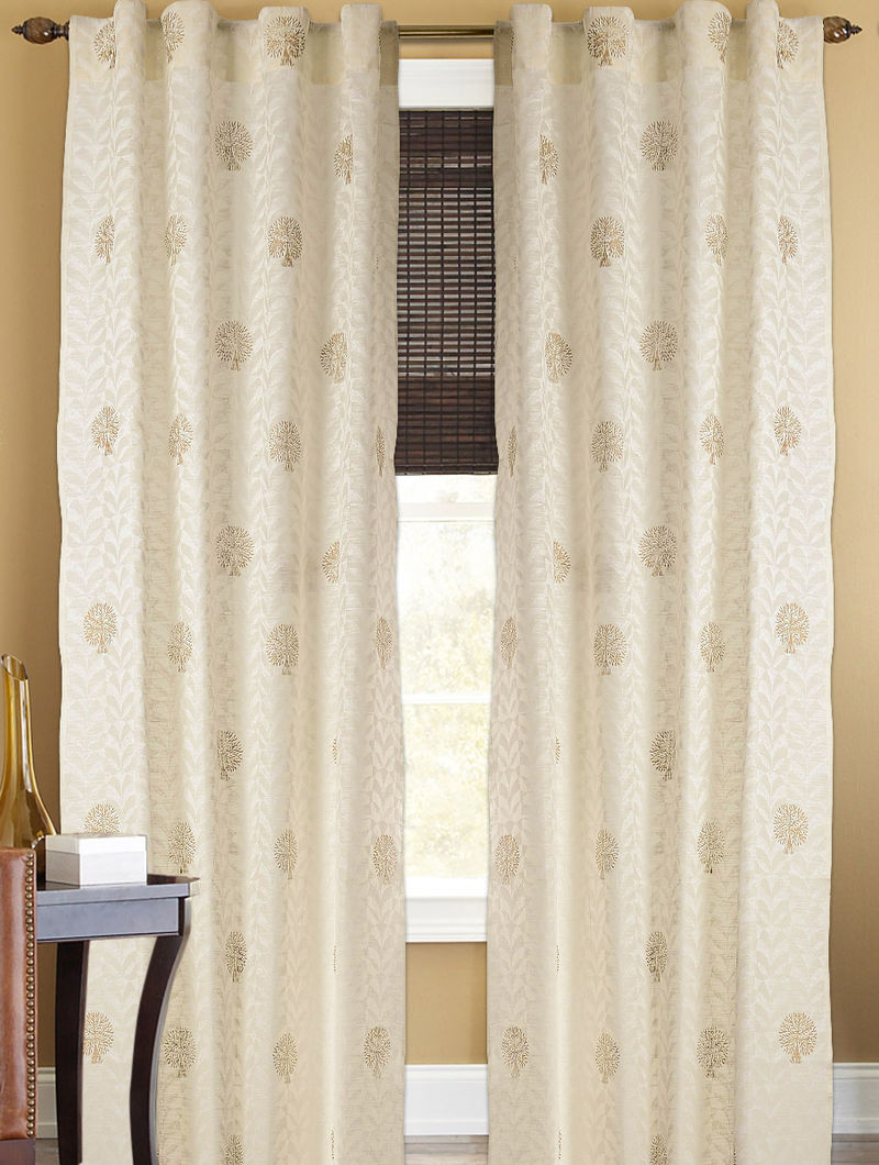 Ivory-Golden Tree Boota Curtain - 105in x 44in