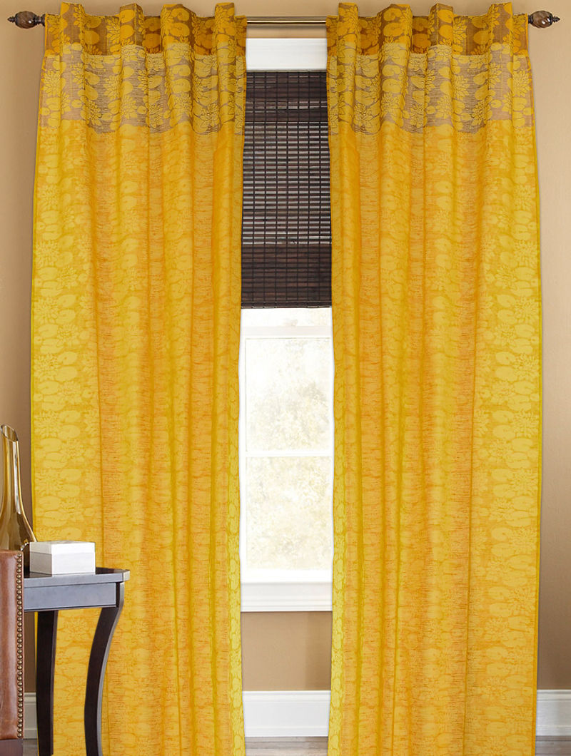 Yellow-Golden Lotus Boota Curtain - 105in x 44in